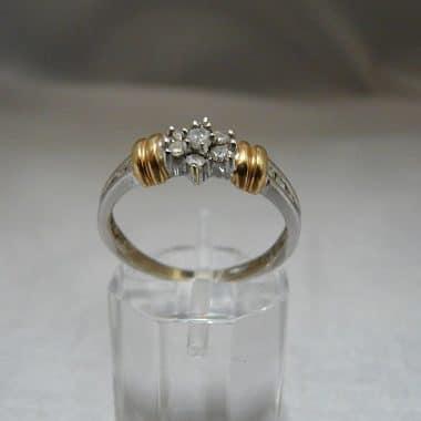 wit met geelgouden ring