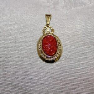 Gouden hanger bloedkoraal hoofdfoto